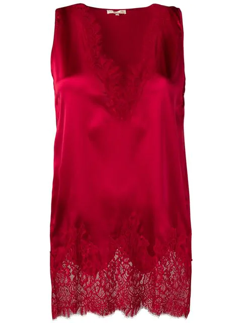 Gold Hawk Lace Trimmed Top - Red