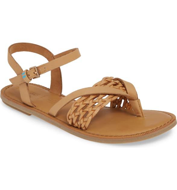 Toms Women's Lexie Thong Sandals In Honey Braid Leather