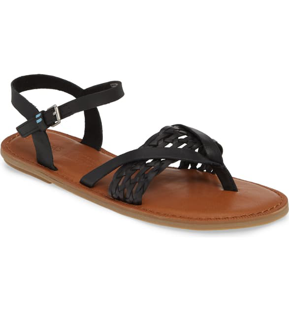 Toms Women's Lexie Thong Sandals In Black Braid Leather