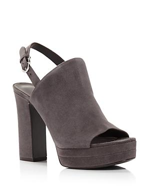 Salvatore Ferragamo Women's Ancona Suede Block-Heel Sandals In Flannel