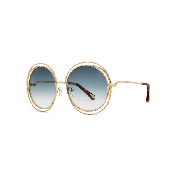 ChloÉ Carlina Oversized Round-Frame Sunglasses In Blue