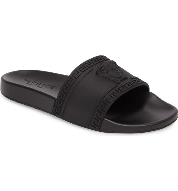 fc94e43ae Versace Men s Medusa   Greek Key Shower Slide Sandals