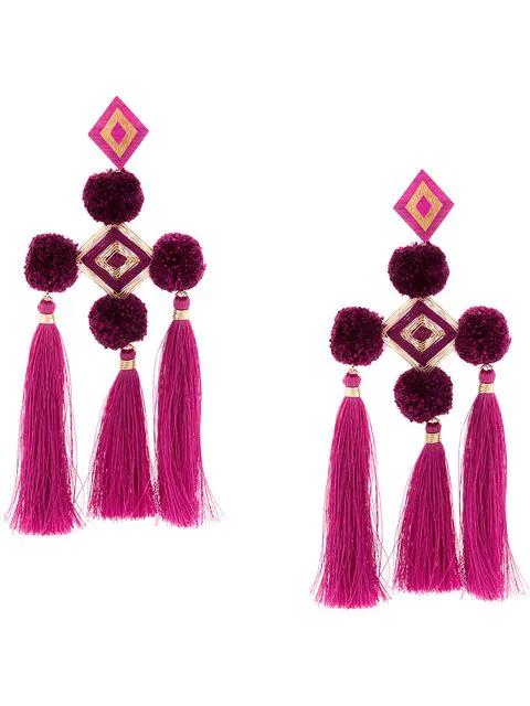 Mercedes Salazar Pompom Tassel Earrings - Purple