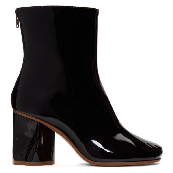 Maison Margiela Black Crushed Heel Ankle Boots