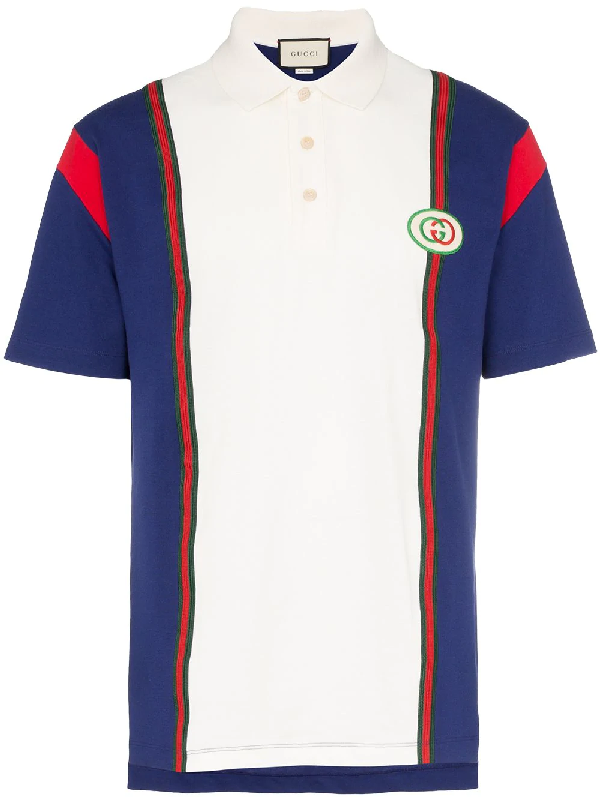beb43f5ba Gucci Men's Vintage Colorblock Polo Shirt With Logo Patch In Blue ...