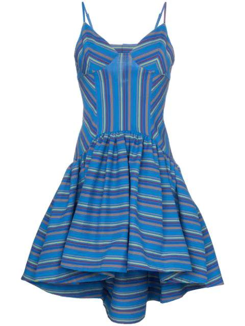 Rosie Assoulin Flared Stripe Print Dress In Blue