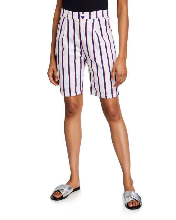 English Factory Stripe Stretch Cotton Bermuda Shorts In White
