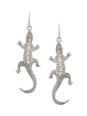 Alexis Bittar Crystal Encrusted Lizard Wire Earrings In Silver