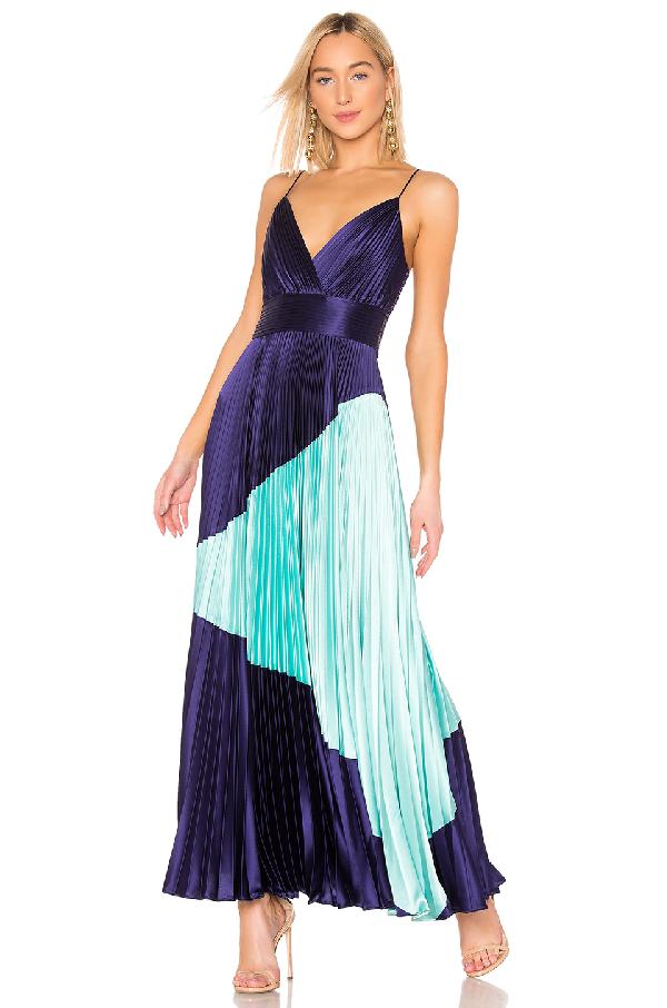 f7897b019a8e7 Jill Jill Stuart Pleated Color-Block Gown In Indigo & Aqua