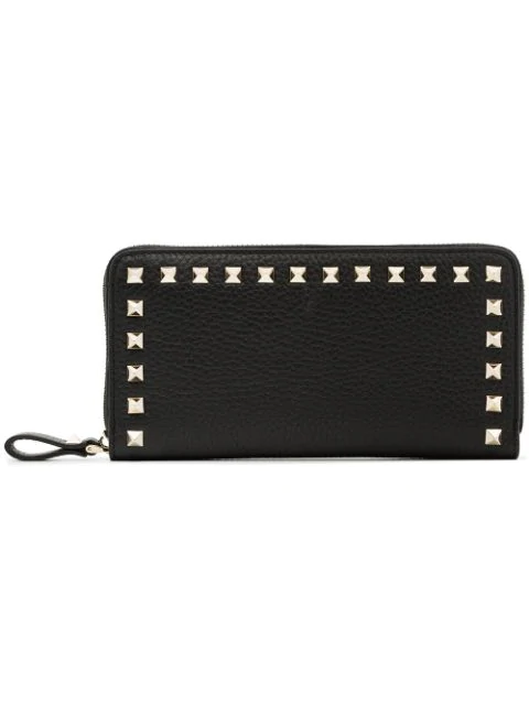 Valentino Garavani Wallet Continental Rockstud Spike Wallet With Zip On Three Sides And Studs On The Edges In Black