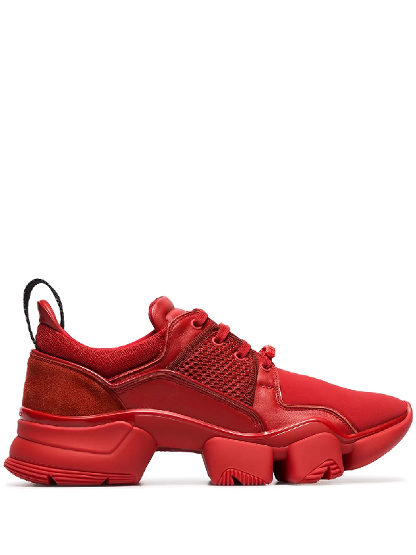 Givenchy Jaw Low-Top Leather Sneakers In Red