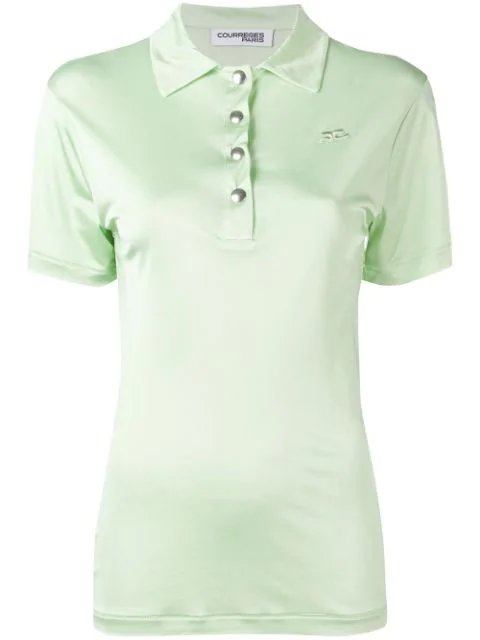 CourrÈGes Satin-Jersey Polo Shirt In Green