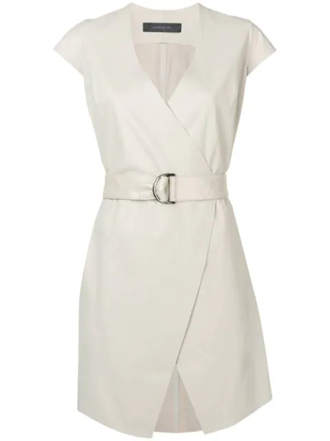 Federica Tosi Belted Cap Sleeve Dress In 0245 Ice