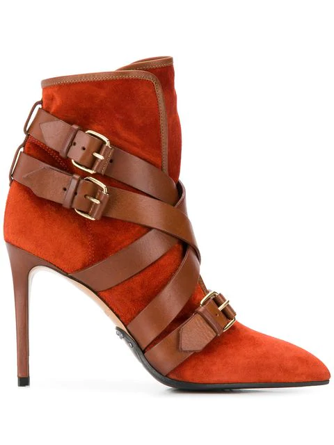 Balmain Rust Leather And Suede Ankle Boots In Red