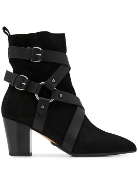 Balmain Black Leather And Suede Ankle Boots