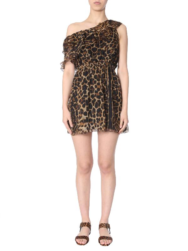 Saint Laurent Single Short Dress In Multicolour