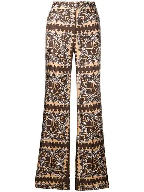 Valentino Logo-Bandana-Print Silk Wide-Leg Pants In Neutrals
