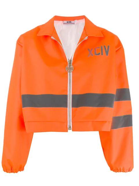 Gcds Cropped Reflective Panel Jacket In Orange