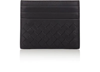 Bottega Veneta Nero Intrecciato Nappa Card Case  In Black