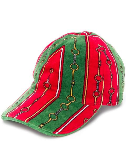 Gucci Men's Printed Chenille Baseball Hat In 3166 Green Red