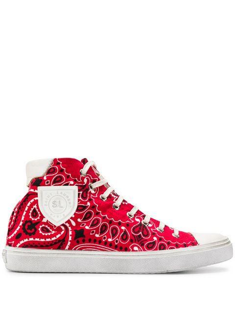 Saint Laurent Bedford High-Top Sneakers In Red
