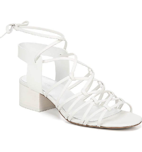 731e20ccd0e Vince Women's Beaumont Leather Lace Up Block Heel Sandals In Off White