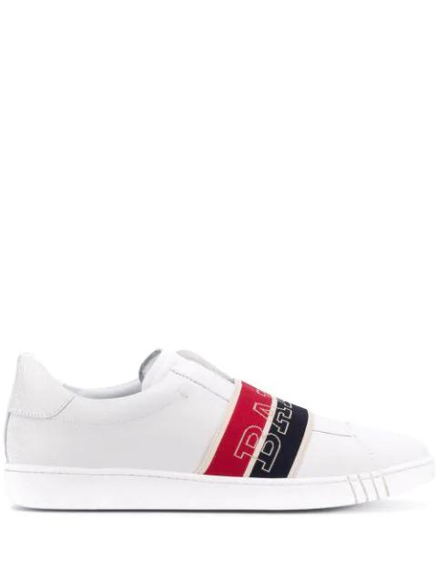 Bally Wilson Wicker Logo Band Leather Slip-On Runners In White