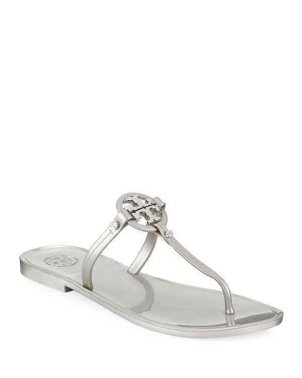 8dbd2d876b Tory Burch Mini Miller Flat Jelly Thong Sandals In Silver   ModeSens