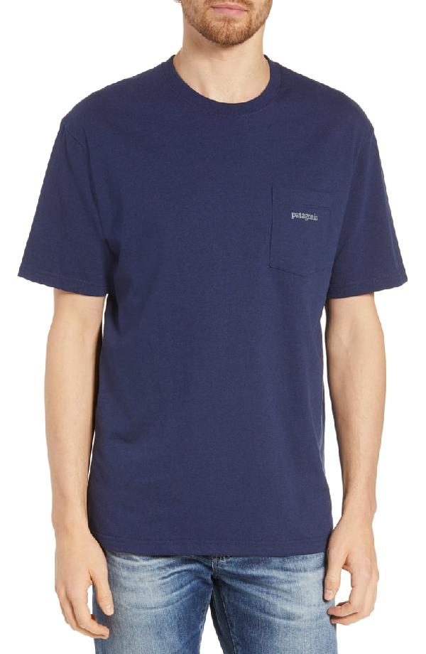 Patagonia Line Ridge Logo Responsibili-Tee Regular Fit T-Shirt In Classic Navy