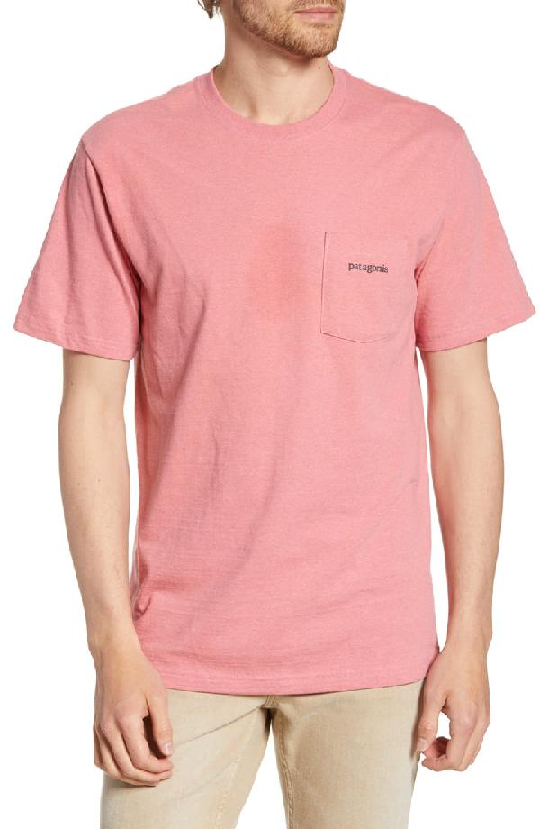 Patagonia Line Ridge Logo Responsibili-Tee Regular Fit T-Shirt In Sticker Pink