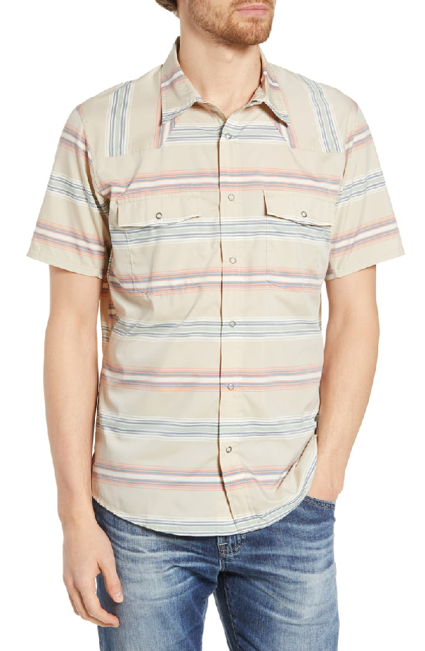 Patagonia Bandito Regular Fit Short Sleeve Shirt In Tarkine Stripe El Cap Khaki