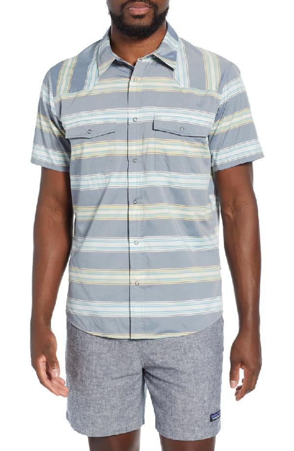 Patagonia Bandito Regular Fit Short Sleeve Shirt In Tarkine Stripe Stone Blue
