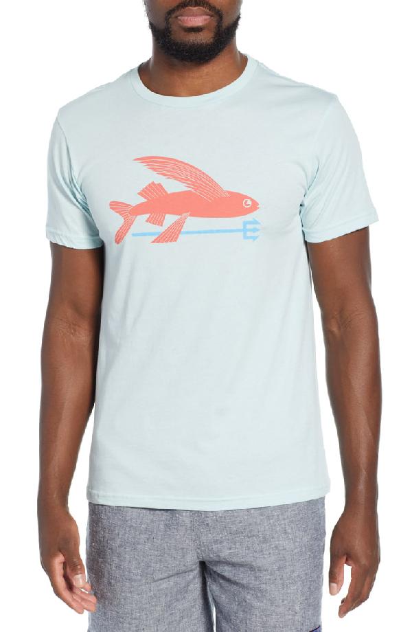 Patagonia Flying Fish Regular Fit Organic Cotton T-Shirt In Atoll Blue