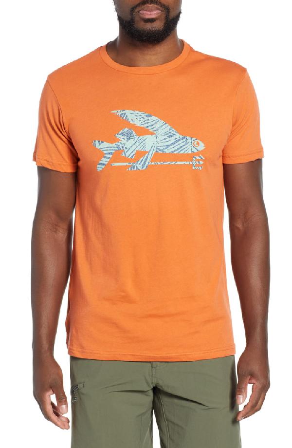 Patagonia Flying Fish Regular Fit Organic Cotton T-Shirt In Sunset Orange/ Rain Ferns