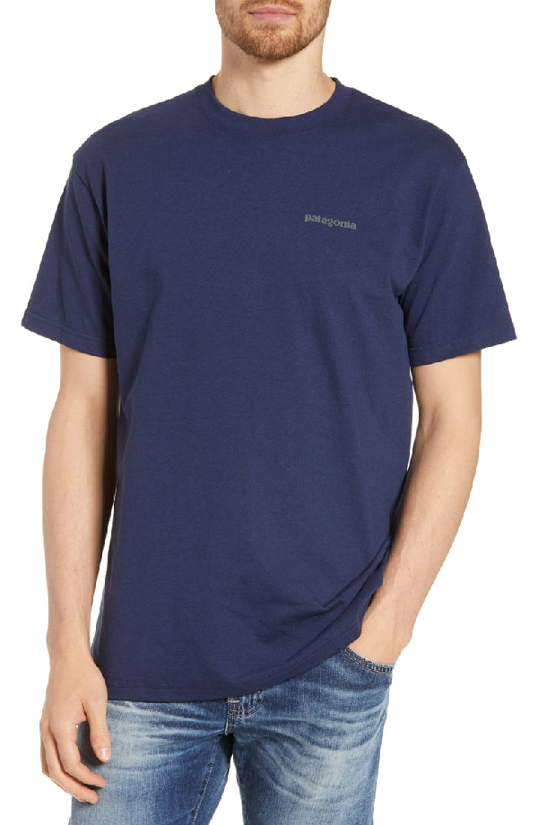 Patagonia Fitz Roy Smallmouth Responsibili-Tee Regular Fit T-Shirt In Classic Navy