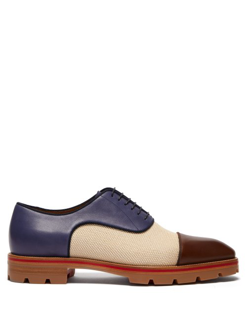 Christian Louboutin - Hubertus Canvas And Leather Oxford Shoes - Mens - Multi