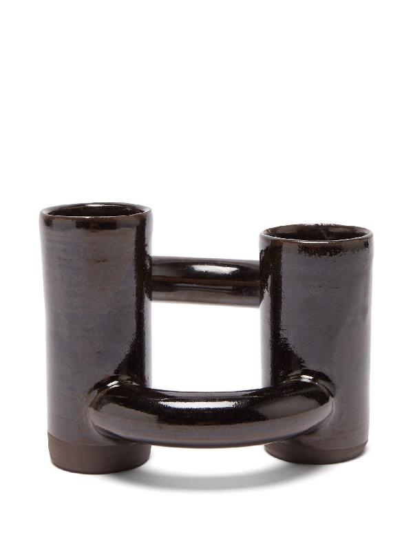 Lily Pearmain Dancing Doughnut Vase In Black