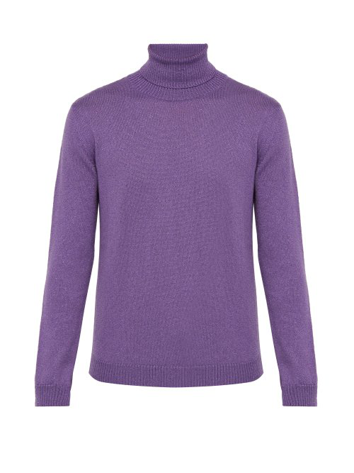 ab960526d Gucci - Roll Neck Metallic Wool Blend Sweater - Mens - Purple   ModeSens