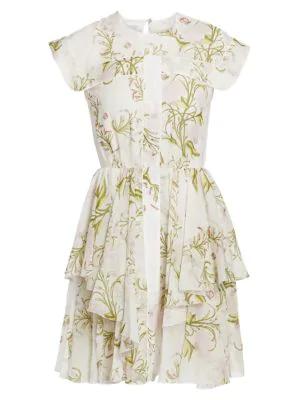 Giambattista Valli Cap-Sleeve Silk Ruffle Dress In Ivory