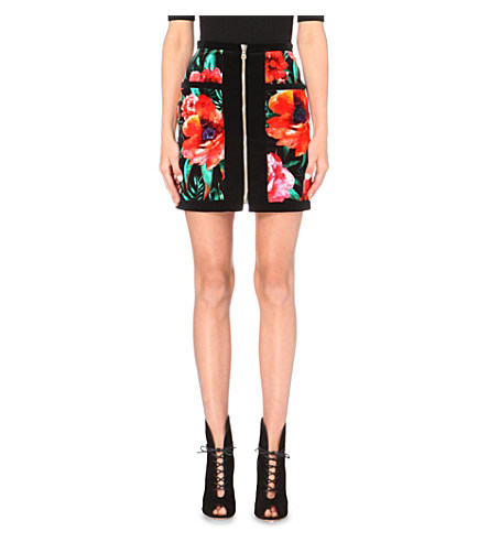 Balmain Woman Floral-Print Cotton-Velvet Mini Skirt Black In Red/Black/Green