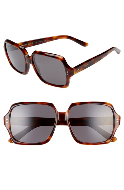 6f9ef6c5ebb Celine 59Mm Oversize Square Sunglasses - Havana  Smoke