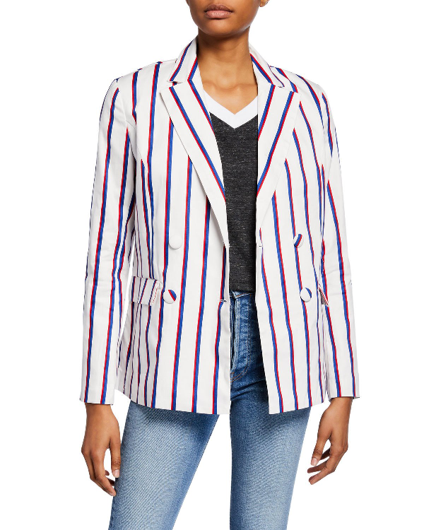 English Factory Striped Double-breasted Blazer In White