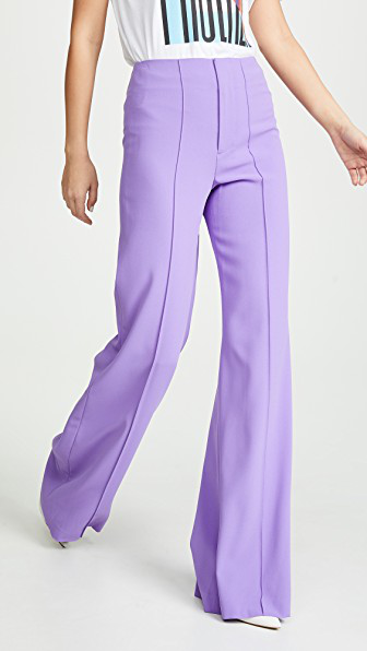 Alice And Olivia Dylan Clean High Waist Wide Leg Pants In Iris