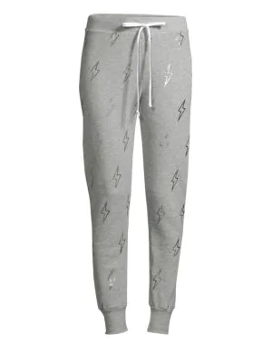 Wildfox Jack High-Waist Silver Bolt Sweatpants In Heather Grey