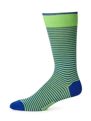 Marcoliani Men's Palio Striped Socks In Green Navy