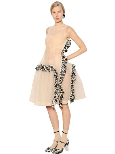 Simone Rocha Embellished Tulle Dress W/ Tweed Ruffles In Nude/Black