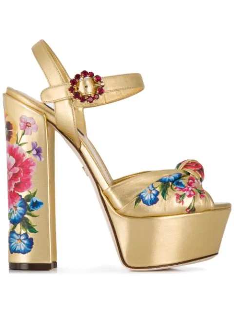 Floral Print Metallic Gold Leather