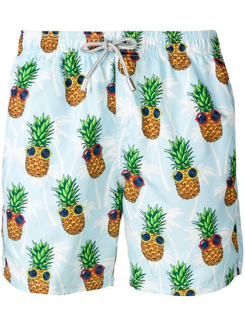 Mc2 Saint Barth Summer Pineapple Swimming Shorts In Blue