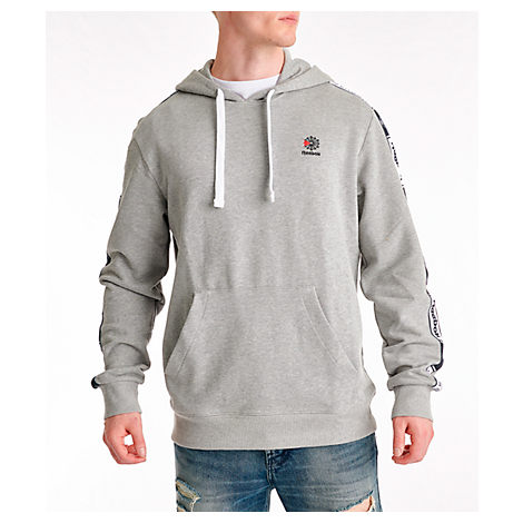 Reebok Men's Classics Taped Hoodie In Grey Size Large 100% Cotton