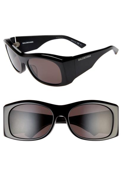 Balenciaga Women's Rectangular Sunglasses, 59Mm In Shiny Black/ Grey